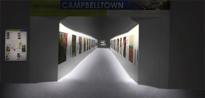 Artists impression of the revitalised Hurley St pedestrian underpass.