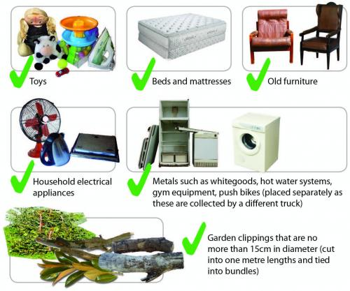 Image showing shat you can put out for a clean up - toys, beds and mattresses, old furniture, household electrical appliances, metal, garden clippings no wider than 15cm in diameter and 1 metre long