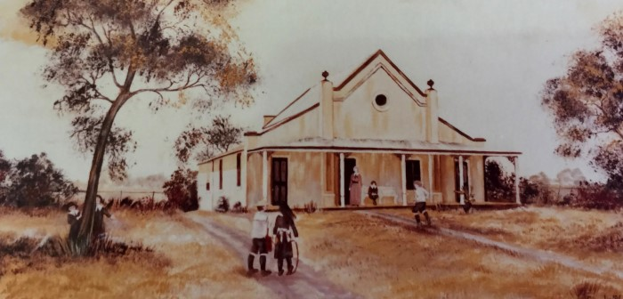 Painting of St Patrick's School in the 1800's by Sandy Inglis