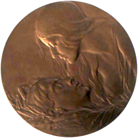A bronze medal showing a woman and an injured soldier