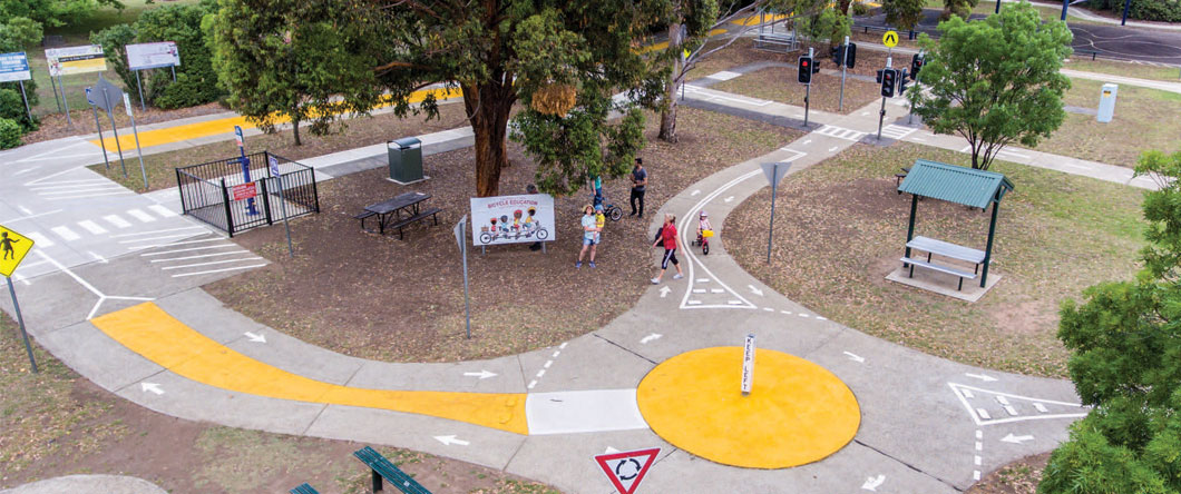 Campbelltown Bicycle Education Centre looks and feels like a real road environment