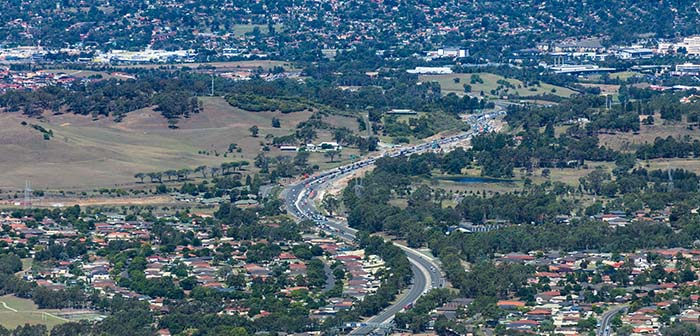 aerial view of Campbelltowns freeway