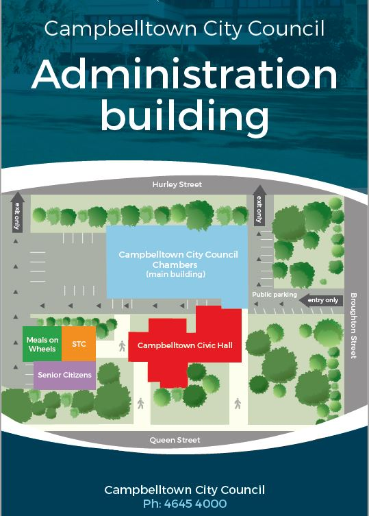 Campbelltown City Council Administration building map showing location of Council chambers, Meals on Wheels, Staff Training Centre, Senior Citizens and Campbelltown Civic Hall buildings.
