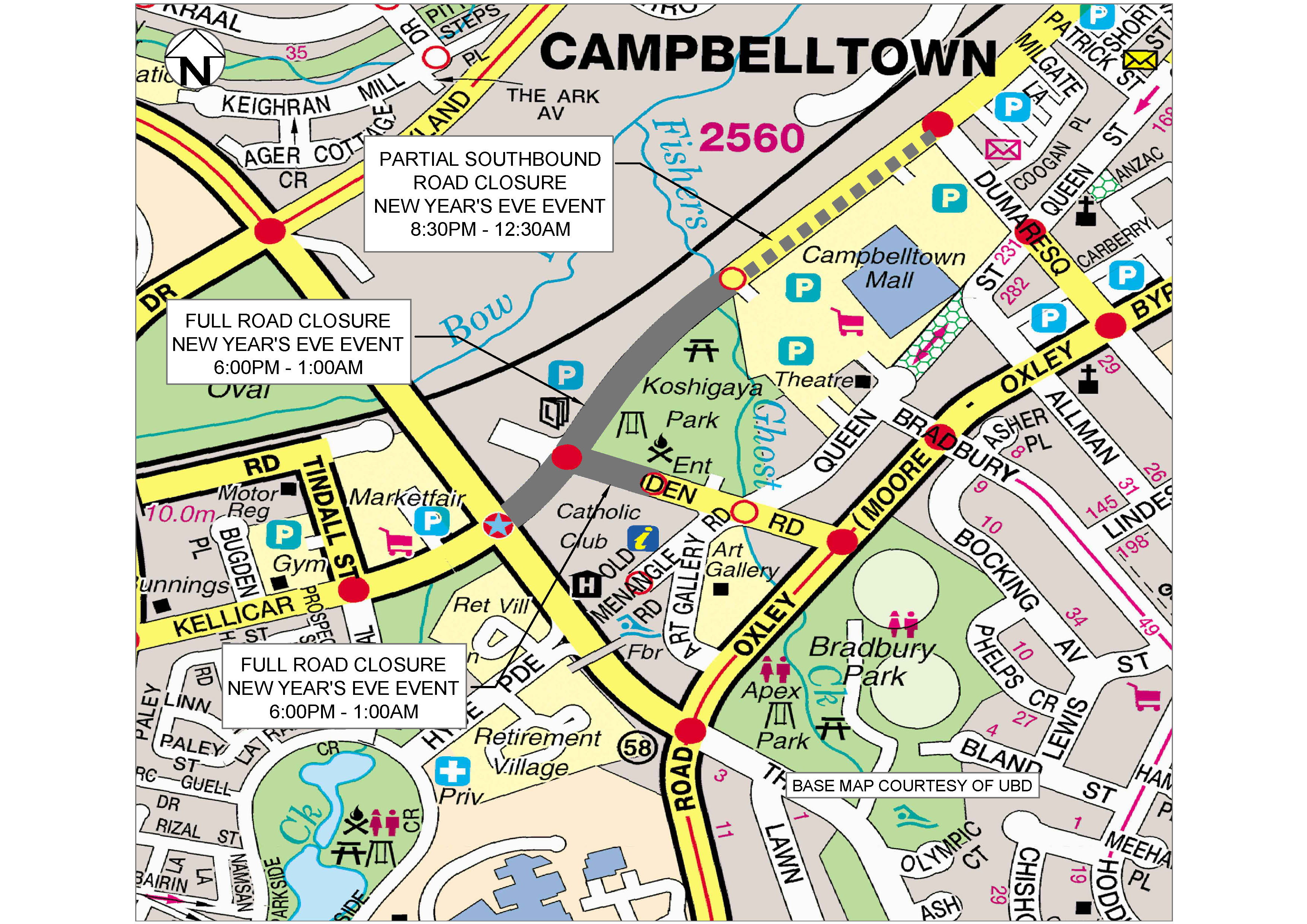 Map of road closures in Campbelltown on New Years Eve