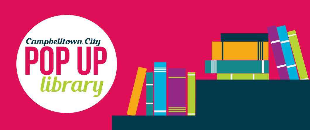 Logo for pop up library and stacks of books graphic