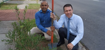 Mayor George Brticevic and resident Ashik Rahman Ash in Macquarie Fields.jpg
