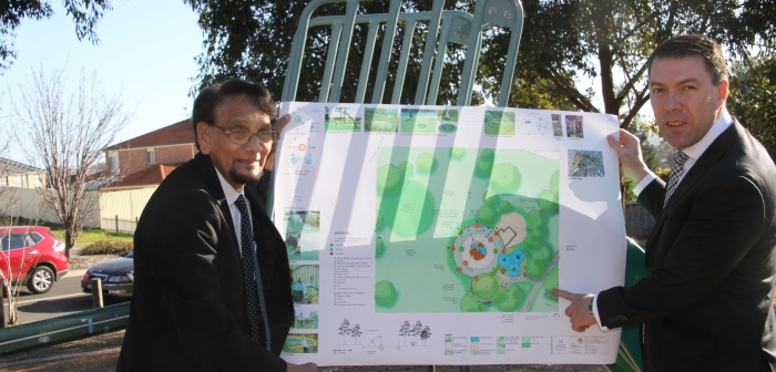 Dr Ragbir Bhathal and Cr George Brticevic with park plans