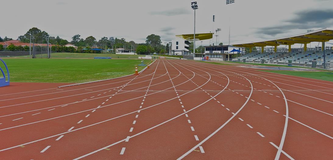 Campbelltown Athletics Centre track and grandstand