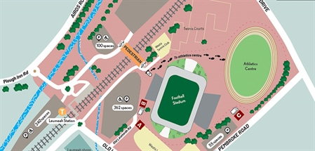 Map of stadium parking at Leumeah for the Campbelltown Sports Stadium