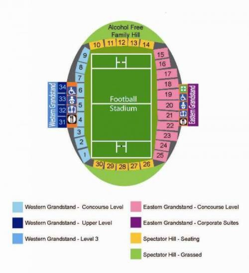 Campbelltown Stadium seating plan detailing sections
