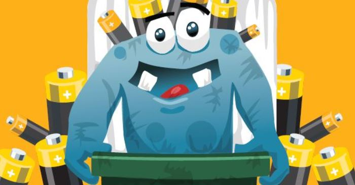 Cartoon image of Battery Recycling Bin Monster