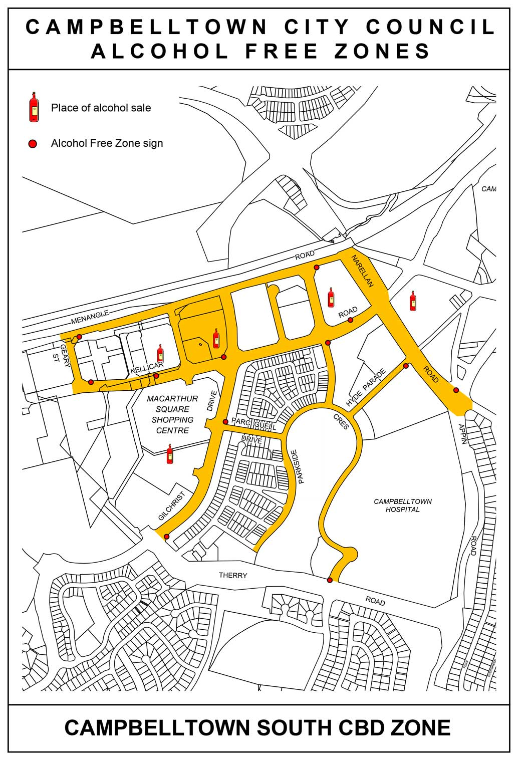 Map of Campbelltown South Alcohol Free Zone